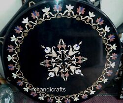 Handmade Inlay Art Kitchen Table Top Round Shape Marble Dining Table Home Decor