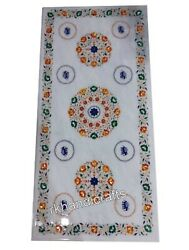 Semi Precious Stones Inlay Marble Dining Table Top White Royal Hallway Table Top