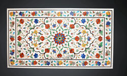 Dining Table Top Colorful Flowers Art Inlaid White Marble Office Meeting Table