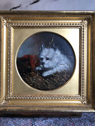 Antique Dog Paintings. C.1870. West Highland Terriers. Westies. A Pair.