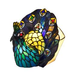 9in Cute Peacock Mica Style Stained Glass Table Lamp Night Light For Bedroom