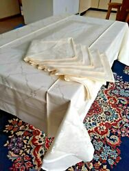 New Linens Cotton And Rayon Made In Japan Toyobo Tablecloth 6 Napkins 66x46