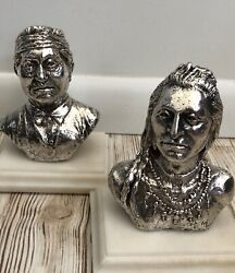 Pair Of Miniature Sterling Silver Cast Native American Indian Sculptures 56.4 Oz