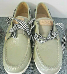 Sperry Top Sider Green Leather/canvas Black/white Shoe Laces Size 7 New Notags