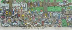 James Rizzi Waiting To Play Golf 1989 Hand Signed 3-d Serigraph Pop Art Framed