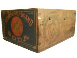 Arm And Hammer Brand Soda Wood Box Advrtsng Crate, W/paper Label And Ink Stmpd Sides