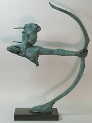 Museum Quality Native Indian Warrior Handcrafted Bronze Masterpiece Home Deco Nr