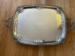 Silver Plated Extra Large Footed Butler/ Gallery Serving Tray Chased