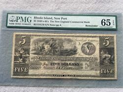 1830s -1840s The New England Commercial Bank 5 Five Dollar Bill Pmg Certified