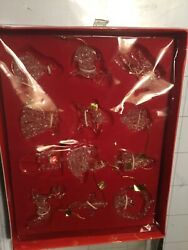 12 Vintage Spun Clear Glass Holiday Tradition Handcrafted Ornaments Christmas De