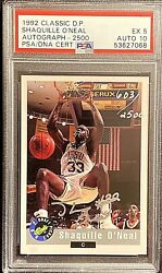 Signed 1992 Classic Draft Pick Shaquille Oand039neal /2500 -- Psa 5 / Auto 10 Hof