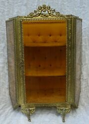 Antique Vintage French Bevelled Glass Miniature Vitrine Jewellery Box Display