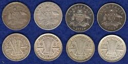 Australia, 8x Silver Threepence Coins, 3d, 1910-61, Different Dates Ref. T3693