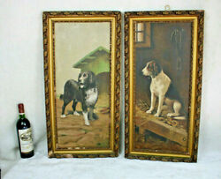 Antique Pair French Oil Canvas Maroufle On Panel Dog Portrait Paintings 1900