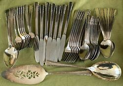 Vintage Holmes And Edwards Silver Plate 51 Pcs. May Queen Flatware W/ Serving Pcs.