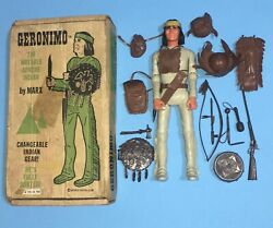 Vintage Marx Geronimo Movable Apache Indian And Box Best Johnny West Fighter