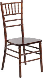10 Pack Fruitwood Wood Chiavari Banquet Chair With Free Fabric Seat Cushions