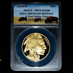 2016-w 50 Proof Gold Buffalo ✪ Anacs Pr-70 ✪ 1 Oz 1st Strike Coin ◢trusted◣