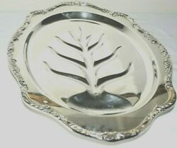 Wm Rogers Footed Silver Plated Meat Tray Flower Wavy Border With Tree Middle
