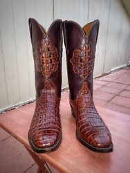 Limited And Rare Alligator Gator Lucchese Cowboy Boots Size 9d