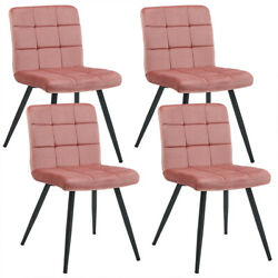 Duhome Dining Chairs Set Of 4 Accent Upholstered Velvet With Black Metal Legs