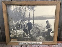 Antique C1911 Kodak Camera Advertising Photograph Sign Men Fishing Excellent