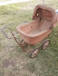 Antique A.witney Victorian Wicker Baby Buggy Wicker In Great Condition