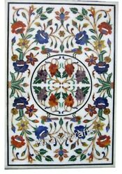 White Marble Meeting Table Top Colorful Flowers Art Inlaid Patio Dining Table