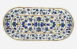 White Coffee Table Top Lapis Lazuli Stone Inlay Marble Dining Table Home Decor