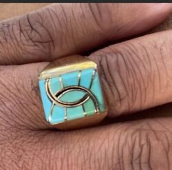 Zuni Native American 14kt Gold With Turquoise Inlay Ring Size13  21.10grams