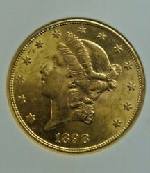 1898-s Liberty 20 Gold Ngc Au58 Nice Looking Coins ...few Marks