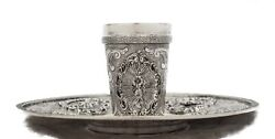 Fine 925 Sterling Silver Handmade Chased Swirl Ornate Cup And Tray