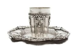 Fine 925 Sterling Silver Hand Wrought Swirl Chased Ornate Cup And Tray