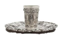 Fine 925 Sterling Silver Handmade Chased Floral Ornate Matte And Shiny Cup And Tray