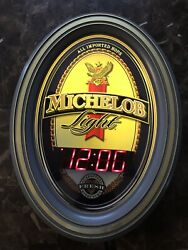 Michelob Oval Light Up Bar Sign Clock Working 21andrdquo X 16andrdquo Man Cave Read