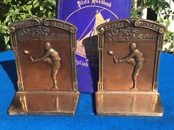 Vintage Judd Bookends, Football, Leather Helmets, Solid Bronze, Circa 1920s