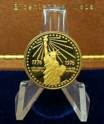 1976 Us Mint American Bicentennial Gold .900 Fine Medal With Box - Rare - G340