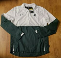 80 Nike Men's Michigan State Spartans Lightweight Jacket White Green Small Nwt