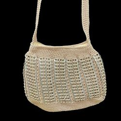 Handmade Knit Purse With Soda Can Tabs, Shoulder Strap, Snap Closure, Beige