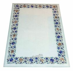Hand Inlaid Work At Border Meeting Table Top White Marble Patio Coffee Table