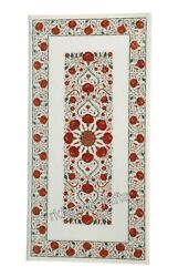 White Marble Reception Table Top Inlay Dining Table With Carnelian Gemstone Art