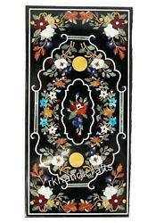 Hand Crafted Decent Art Inlay Hotel Table Top Unique Black Marble Dining Table
