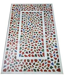 Random Work Inlaid Marble Dinette Table Top Gemstones Art Coffee Table For Home