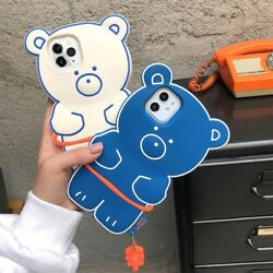 3d Teddy Bear Phone Cartoon Case Soft Silicone For Iphone 12 11 Pro Max Xr X Xs