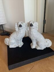 Large Authentic Antique Staffordshire King Charles Dog Pair Figurines. Rare.