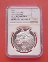 South Africa 2020 The Big Five-leopard 5 Rand Silver Proof Coin Ngc Pf70uc