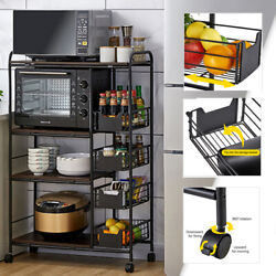 4-tier Rolling Kitchen Utility Cart Trolley Organizer Microwave Stand Rack O0v2