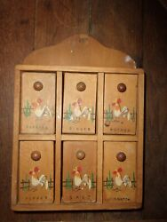 Rooster Wooden Spice Rack Cabinet [great Vintage Piece]