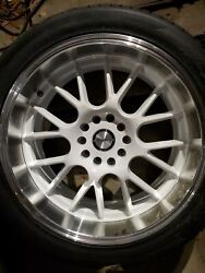 Shift Crank Wheels And Hankook Tires 18x8 For Chevy 5x4.75 White Brushed Lip