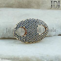 Solid 14k Yellow Gold Blue Sapphire Gemstone Pave Connector Fine Jewelry Finding